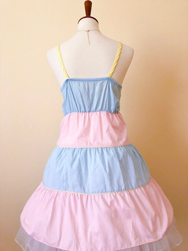 e76dac36aed7b Vintage 1970s Pink Blue Pastel Color Block Cotton Candy Cupcake Disneybound  Dapper Day Confectionery Disneyland Sundress