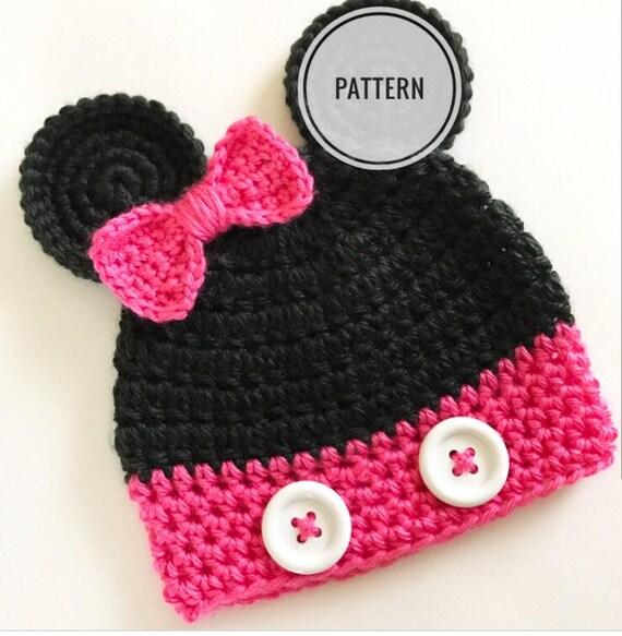 Crochet pattern Minnie Mouse hat Minnie mouse beanie  c2e1636cc62e