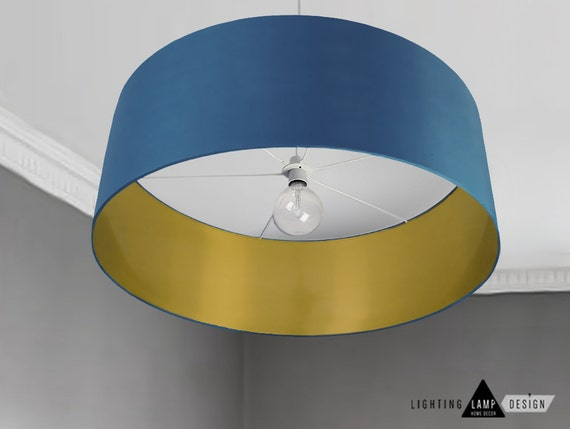 Mid modern lamp shade navy blue ceiling lamp shade drum etsy image 0 aloadofball Image collections