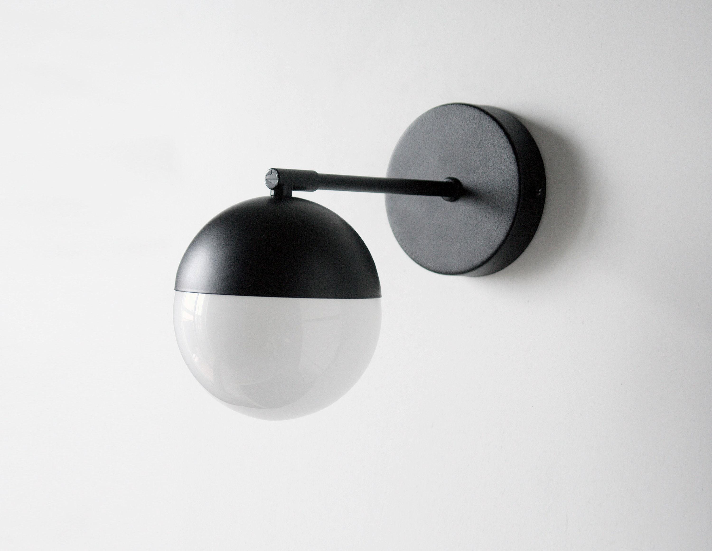 Black Orb Light Black Modern Light Black Mirror Light Black Gold Vanity Mid Century Vanity Bathroom Sconce Black Modern Fixture