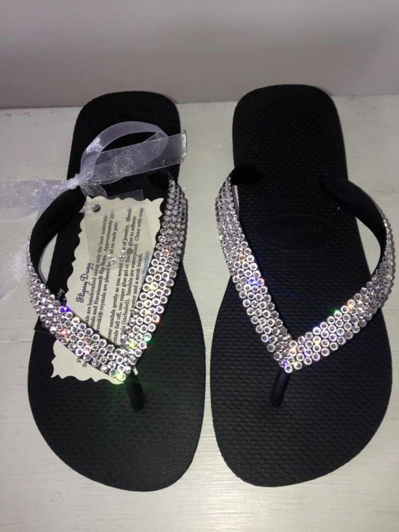 a28310922905 Swarovski embellished Havaianas flip flops