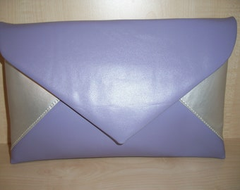 Over sized lilac and silver faux leather envelope clutch bag, fully lined, made in derbyshire