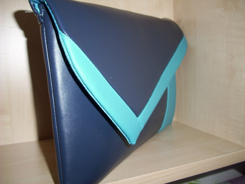 OVER SIZED BLACK /& MINT GREEN  faux leather asymmetrical clutch bag UK made