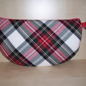 Half moon tartan check red black /& gold zip clutch bag with wrist strap BN