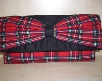 Royal Stewart tartan and black suede clutch bag