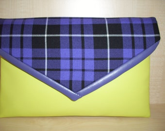 Oversized yellow and purple tartan and faux leather envelope clutch bag