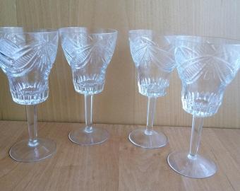 Vintage Crystal Wine Glasses Bridal Gift Vintage Wedding Crystal Wedding Glasses Glass Crystal Pressed Glasses 1970's Bar Glass Set Glasses