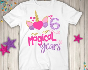 Six Unicorn Birthday Shirt
