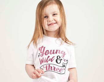 Wild & Three - 3 Birthday Girl - 3rd Birthday Shirt - Three Shirt - Third Birthday Shirt- 3rd Birthday Outfit - 3rd Birthday Party