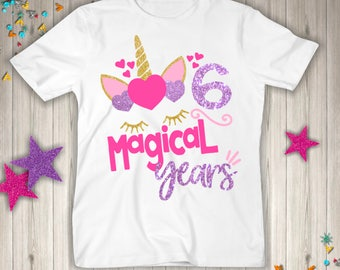 Six Unicorn Birthday Shirt