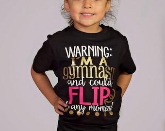 Personalised Cartwheel T-Shirt Kids Funny Gymnastics Gym Acrobat Rainbow 1-13y