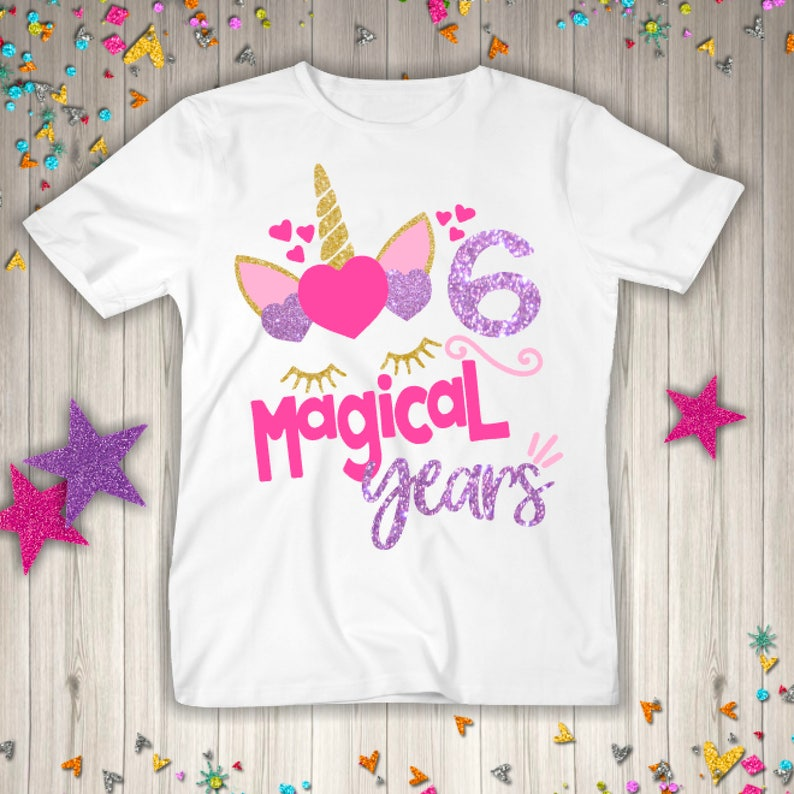 Six Unicorn Birthday Shirt 6th Girl Gift