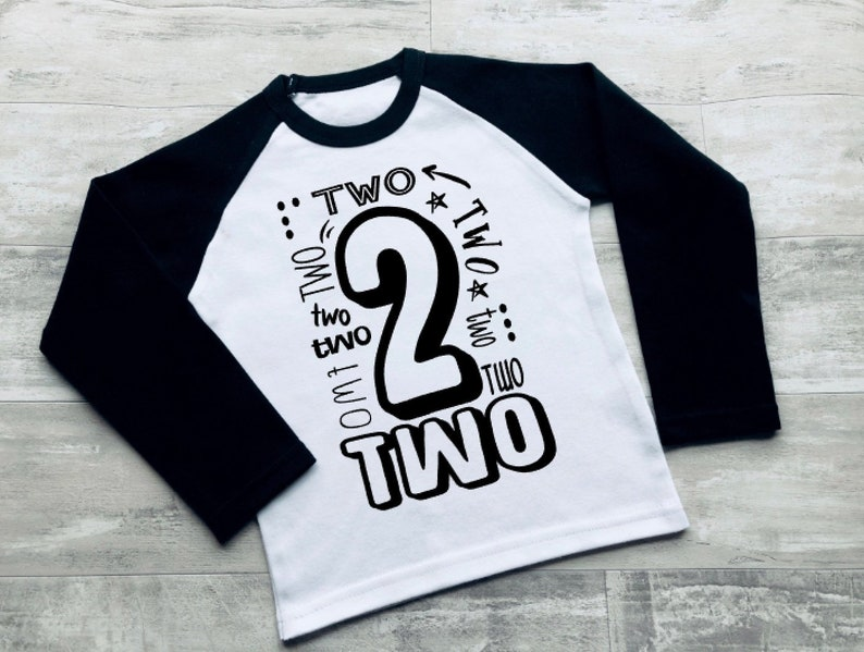 Boys 2nd Birthday Black Raglan Shirt Two