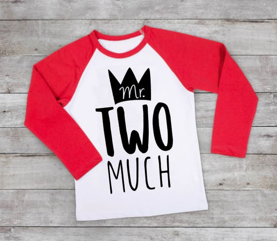 Boys Two Birthday Shirt Mr TWO Much 2nd Boy