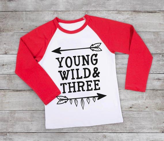 12ed3235e Boys Three Birthday Shirt Boy 3rd Birthday Young Wild and | Etsy