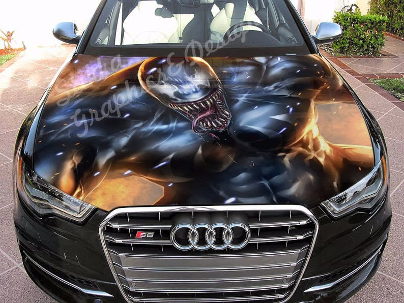 Vinyl Car Hood Full Color Wrap Graphics Decal Venom Spider Man Etsy