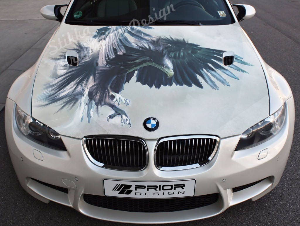 Vinyl Car Hood Full Color Wrap Graphics Decal Eagle Predator
