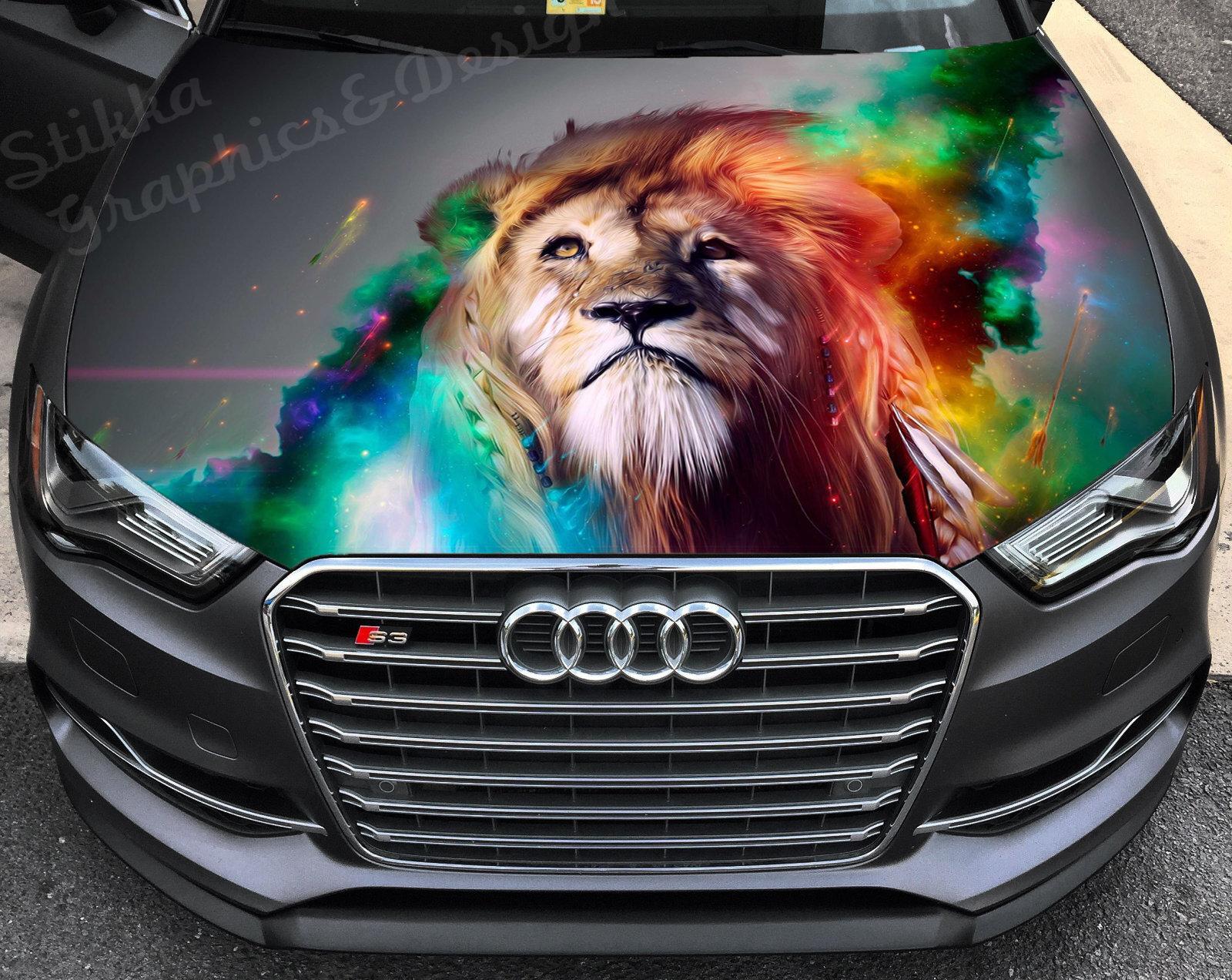Vinyl Car Hood Wrap Full Color Graphics Decal Lion Animal Beast Predator Sticker