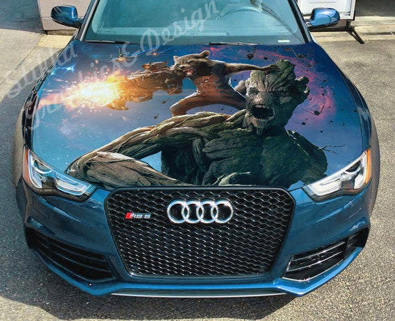 Vinyl Car Hood Wrap Full Color Graphics Decal Wolf Abstraction Sticker