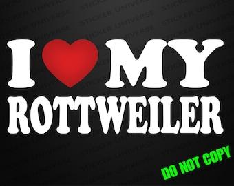 I Love My Rottweiler Car Window Decal Bumper Sticker Dog Rescue Breed Pet 0184