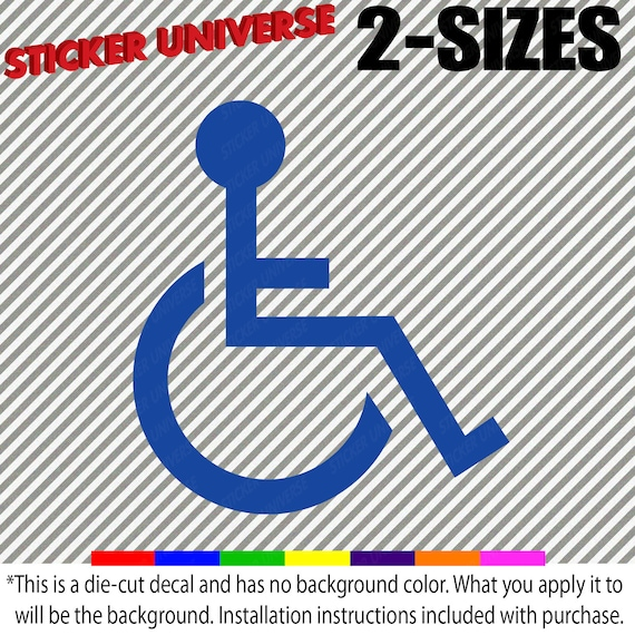 Behinderung Rollstuhl Symbol Gestanzte Vinyl Aufkleber Aufkleber 2 Größen Kein Hintergrund 81