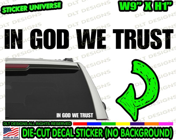 "/""In God We Trust/""    WIndow Decals  2/"" x 12/"""