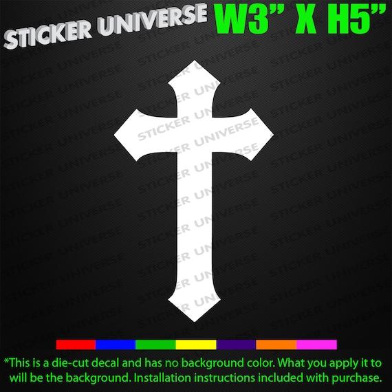 JESUS CROSS Vinyl Decal Sticker Car Window Wall Bumper God Religious Crucifix
