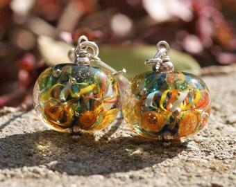 Lampwork and silver earrings, Glass Earrings, Ocean Earrings, artisan lampwork bead 3D, Earrings Lampwork Aquarium, yellow,orange bright