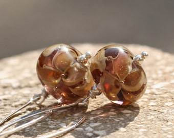 Lampwork and silver earrings, Glass Earrings, Lampwork flower glass artisan bead earrings, brown flower, handmade glass earrings, yellow