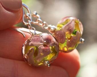 Lampwork and silver earrings, Glass Earrings, Lampwork flower glass artisan bead earrings, Pink flower, handmade glass bead earrings, green