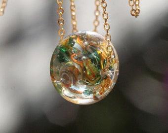 Lampwork pendant, Glass pendant, Artisan Lampwork glass beads pendant, handmade glass bead, yellow Blue pendant, Real nature jewelry  green