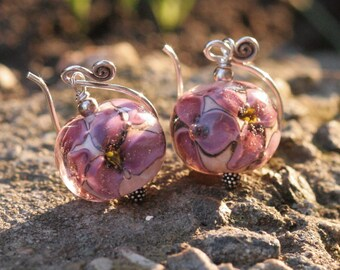 Lampwork and silver earrings, Glass Earrings, Lampwork flower glass artisan bead earrings, Pink flower, handmade glass bead earrings