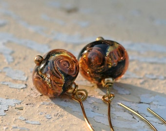 Lampwork earrings, Glass Earrings, artisan lampwork bead 3D, Earrings Lampwork Aquarium,orange, long earrings, brass with gold plating,