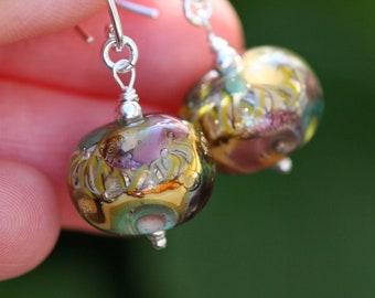 Lampwork and silver earrings,purple, black, pink, yellow, Glass Earrings, Artisan lampwork, Lampwork bead, Earrings Lampwork Aquarium