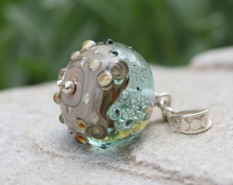 Lampwork and silver pendant, Blue, Green, turquoise, Glass pendant, Artisan lampwork bead, pendant Lampwork, handmade glass bead pendant