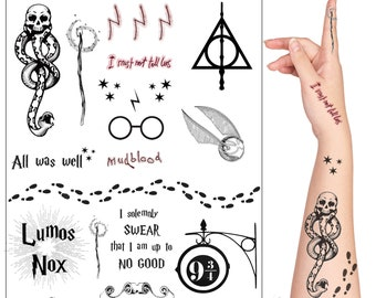 465b233a68b2c Harry Potter Cosplay and Fan Art Temorary Tattoo Set. 20 Tattoos Including  Forehead Scar, Snake, Deathly Hallows Symbol, Star, All Was well