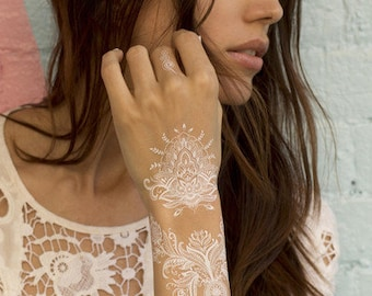 White Temporary Tattoos Pack of 5 sheets, White Henna Tattoos, Floral, Mehndi, Geometric, Accessorize Hands, Fingers and Body