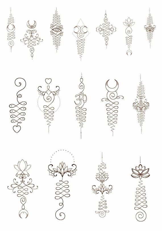 Unalome temporary tattoos lotus flower om symbol third eye etsy image 0 mightylinksfo