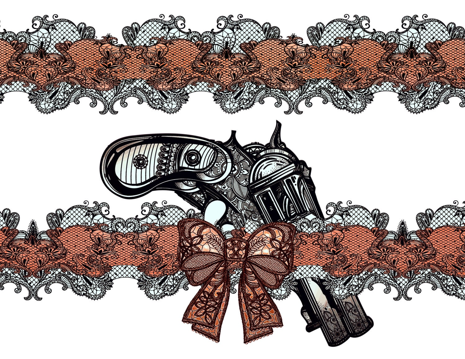 Large Temporary Tattoo Garter With Old School Gun And Red Bow Etsy