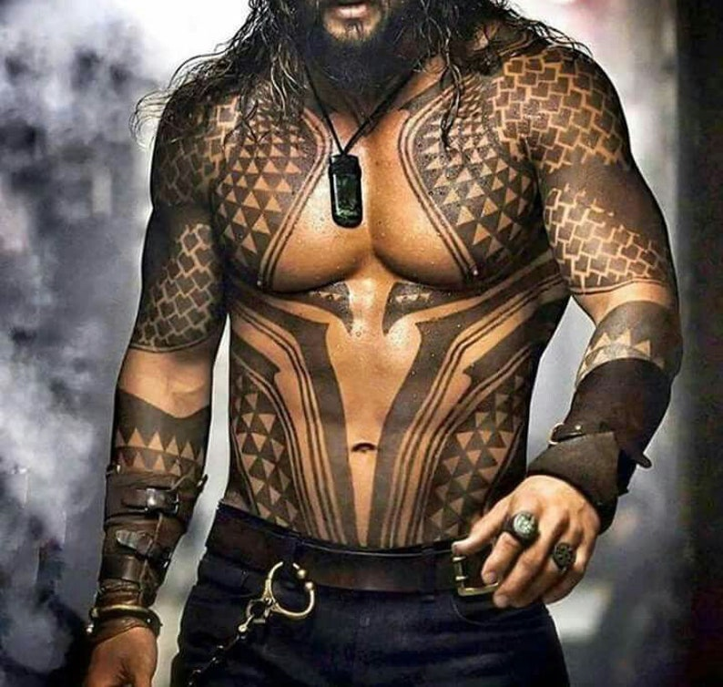 Jason Momoa Salary For Aquaman: Aquaman Temporary Tattoos For Cosplayers Custom Made