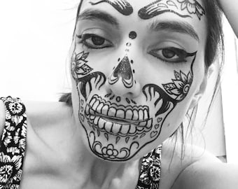 Day of the dead face temporary tattoos for cosplay halloween. Skull dia de los muertos. Coco inspired