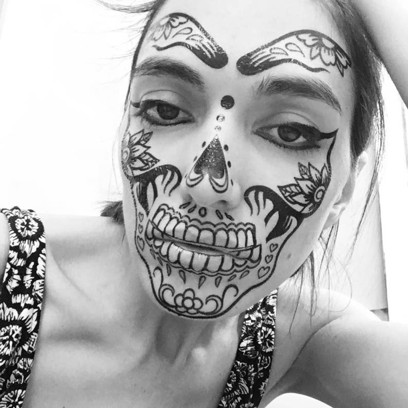Day of the dead face temporary tattoos for cosplay halloween. | Etsy