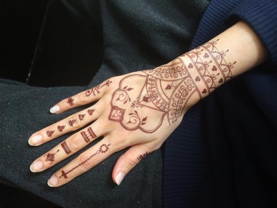 1bc2bf098b718 Henna Temporary Tattoo. Pack of 2. Water transfer tattoo. Last   Etsy