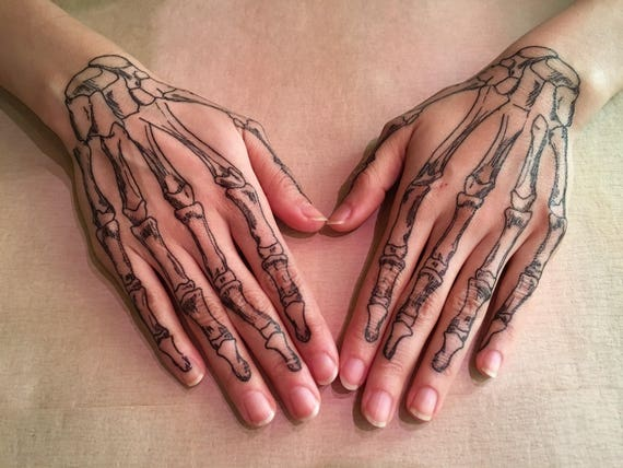 Coco Skeleton Hands Temporary Tattoos For Cosplay Halloween Etsy