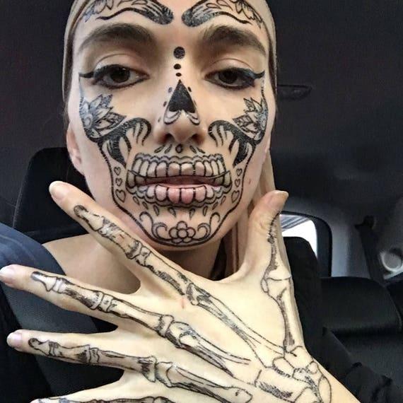 Coco Ręce Szkieletu Tymczasowy Tatuaże Na Cosplay Halloween Czaszka