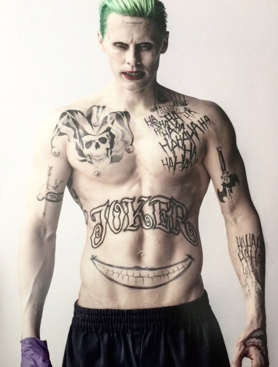 Joker Temporary Tattoos Suicide Squad Costume Cosplay Etsy