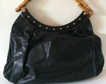 d694575af1e Vintage Gucci Bamboo Handle Pleated Leather Handbag