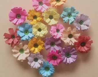 Quilling Quilled Paper Mixed lot of 20 Fringed Flowers Scrapbooking Card Making