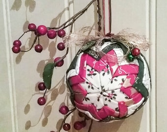 Beautiful Hand Quilted Folded fabric Christmas Ornament Ball decoration