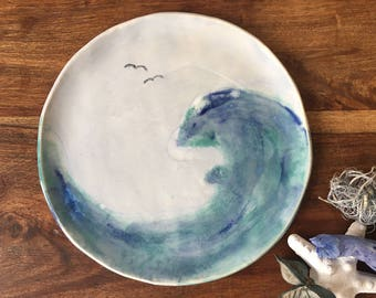 Side Plate | Summer | Ceramic Side Plate | Cake Plate | Blue and Green Plate  | 'Seascape Collection' Plate